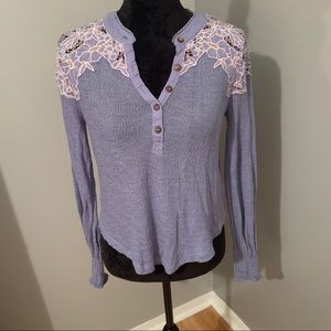 Free People purple pullover long sleeves, Sz Small